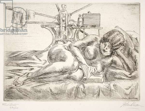 Nude Reading, 1928 (etching)