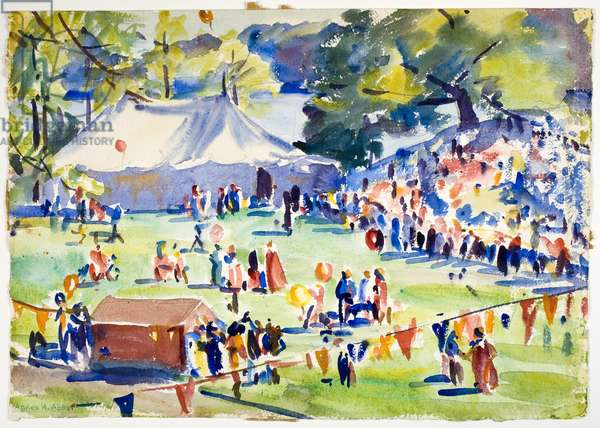 The Children's Circus on Severance Green at Wellesley College, 1936 (watercolour)
