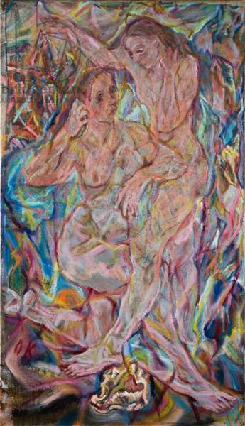 Double Nude: Two Women (Sketch), 1912 (oil on canvas)