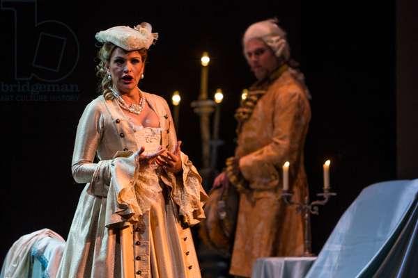 Ainoha Arteta as Adriana in the opera 'Adriana Lecouvreur', at the Teatro de la Maestranza, Seville, May 2018 (photo)