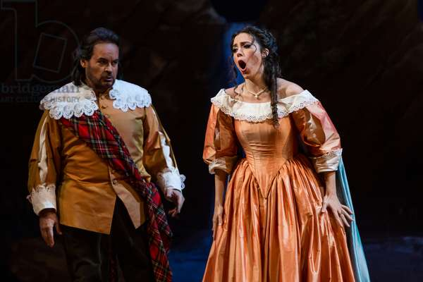 Leonor Bonilla as Miss Lucia and Jose Bros as Sir Edgardo di Ravenswood in the opera 'Lucia di Lammermoor', rehearsal at Teatro de la Maestranza, October 2018 (photo)