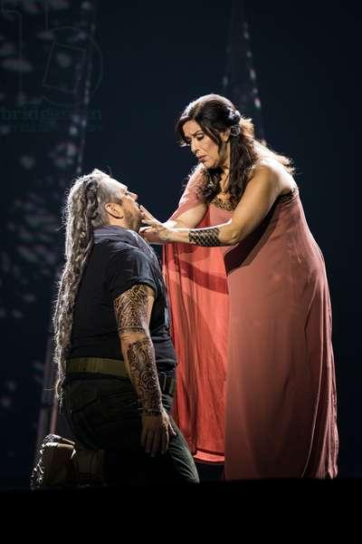 Gregory Kunde as Samson and Nancy Fabiola Herrera as Dalila in the opera 'Samson et Dalila', at the Teatro de la Maestranza, Seville, November 2019 (photo)