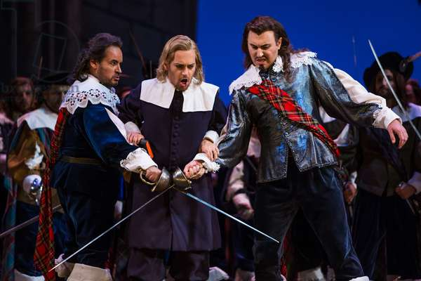 Vitaliy Bilyy as Lord Enrico Ashton and Jose Bros as Sir Edgardo di Ravenswood in the opera 'Lucia di Lammermoor', rehearsal at Teatro de la Maestranza, October 2018 (photo)