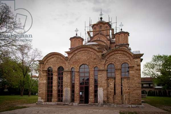 Facade of the church of the Grac?anica Monastery (photo)