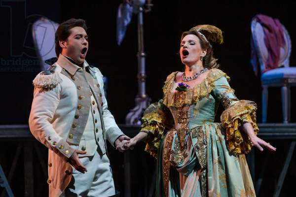 Ainoha Arteta as Adriana and Teodor Ilincai as Maurizio in the opera 'Adriana Lecouvreur', at the Teatro de la Maestranza, Seville, May 2018 (photo)