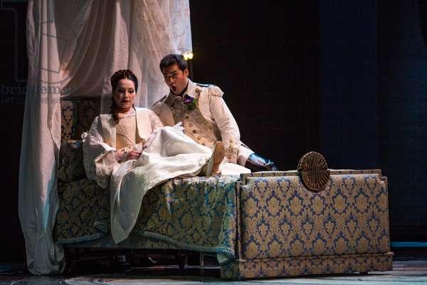Ksenia Dudnikova as Princess de Bouillon and Teodor Ilincai as Maurizio in the opera 'Adriana Lecouvreur', at the Teatro de la Maestranza, Seville, May 2018 (photo)