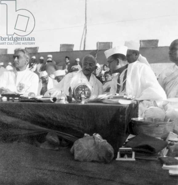 Mahatma Gandhi talking with Subhash Chandra Bose, 1939 (b/w photo)
