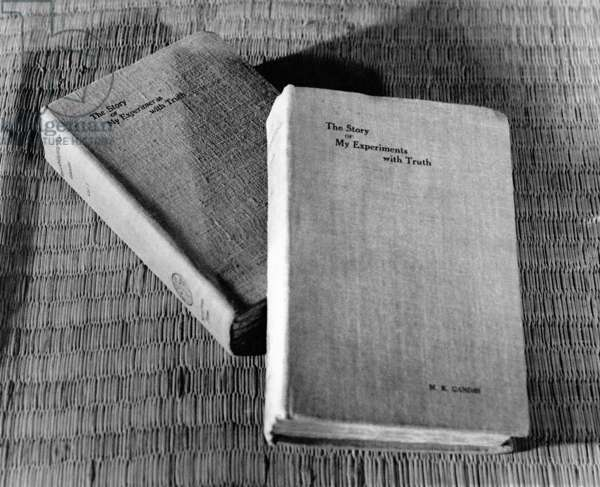 Mahatma Gandhi's autobiography The Story of My Experiments with Truth, published in two volumes in 1927, c.1927 (b/w photo)