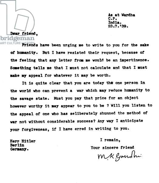 Mahatma Gandhi's first letter to Adolf Hitler, 23rd July 1939 (litho)