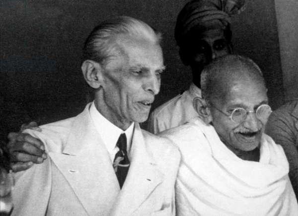 Mahatma Gandhi meeting with Muhammad Ali Jinnah in Mumbai (b/w photo)