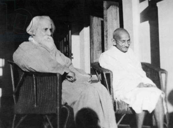 Mahatma Gandhi and Rabindranath Tagore at Shantiniketan, 18th February 1940 (b/w photo)