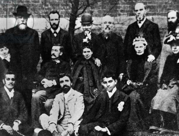Mahatma Gandhi with members of the Vegetarian Society, London, England, 1890 (b/w photo)
