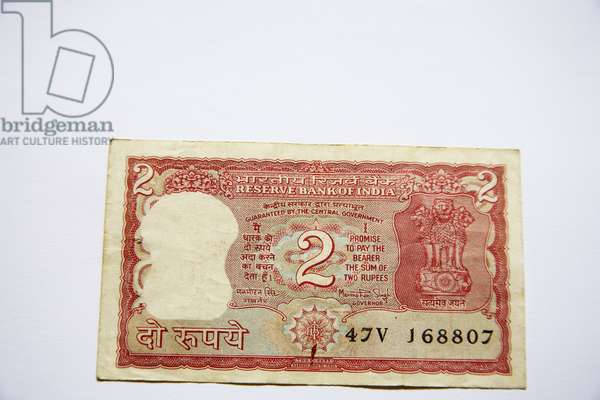 Indian currency two rupee note Reserve Bank Government of India shown front side