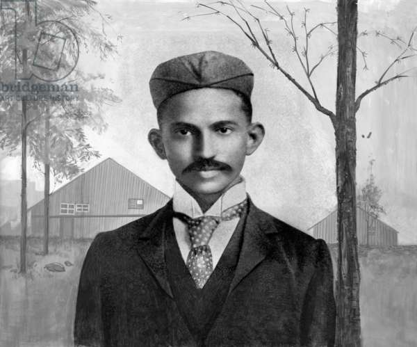 Mahatma Gandhi in South Africa, 1895 (heavily retouched b/w photo)