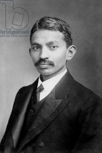 Mahatma Gandhiji in London, England, 1906 (b/w photo)