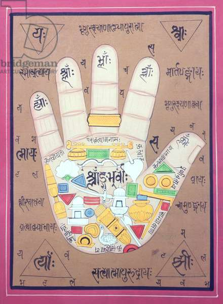 Tantric diagram of the left hand (gouache and w/c on paper)