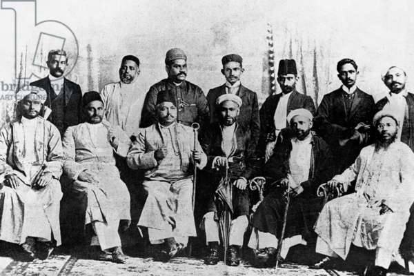 Mahatma Gandhi with co-founders of Natal Indian Congress, Durban, South Africa, 1895 (b/w photo)