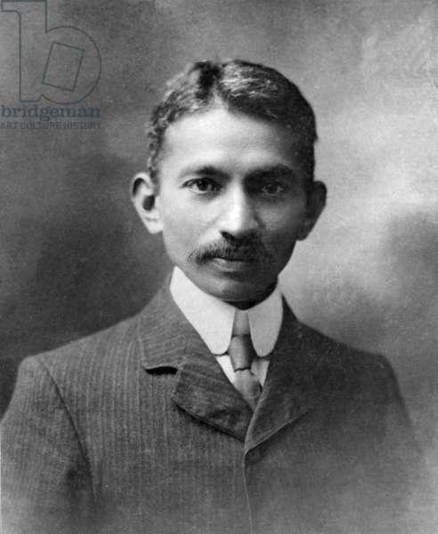 Gandhi in London, England, 1909 (b/w photo)