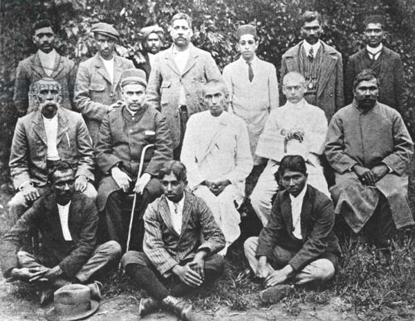 Gandhi at centre with other leading Indian Passive Resisters at Maritzburg, South Africa, December 31, 1913 (b/w photo)