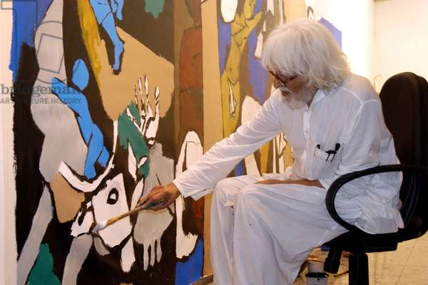 M.F. Husain painting at Pundole Art Gallery (photo)