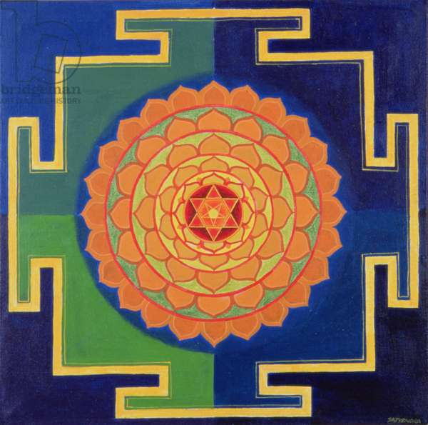Gayatri Yantra Drawing (pigment on board)