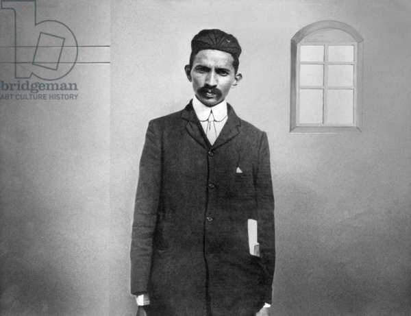 Mahatma Gandhi during the early years of legal practice at Johannesburg, South Africa, 1900 (retouched b/w photo)