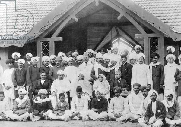 Mahatma Gandhi at a reception address, January 27, 1915 (b/w photo)