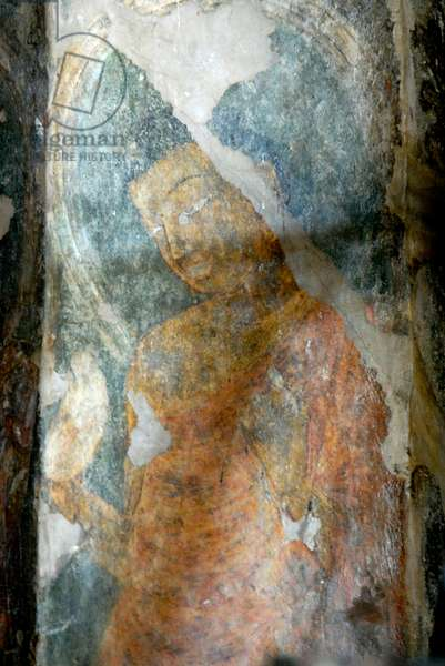Fresco in Buddhist rock cut cave 10, Ajanta caves, Aurangabad, Maharashtra, India