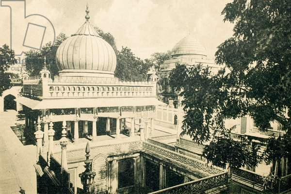 Tombs of Nizamuddin Aulia, Delhi , India (b/w photo)