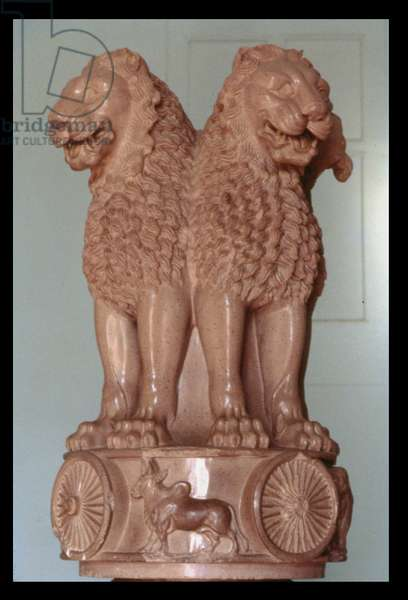 Lion capital from the Ashoka pillar, from Sarnath, 3rd century BC (polished sandstone)