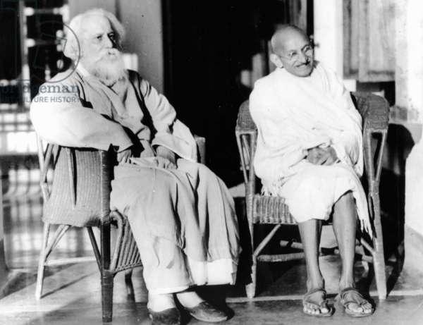 Mahatma Gandhi with poet Rabindranath Tagore, February 1940 (b/w photo)