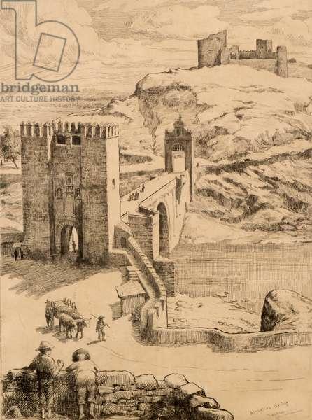 Alcantara Bridge, Toledo (etching)