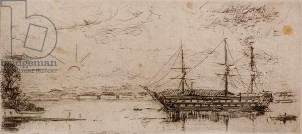The Mars Training Ship, 19th century (etching)
