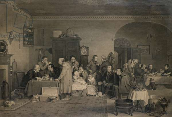 The Rent Day, 19th century (engraving)