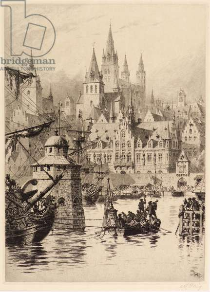 Gothic Towers and River, Cologne, 1891 (etching)