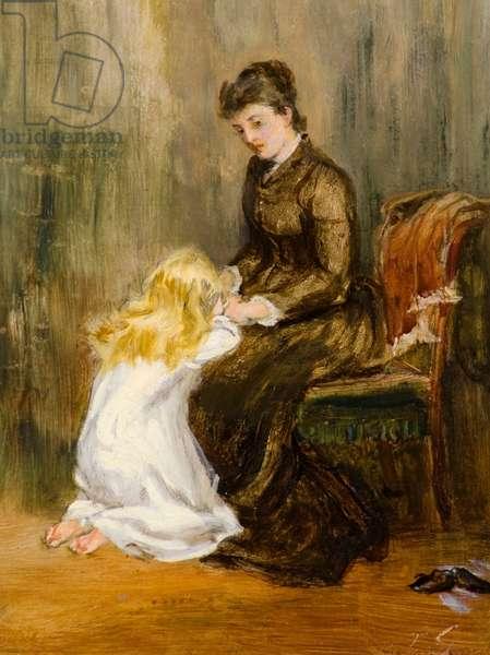 Prayer, 19th century (oil on canvas)