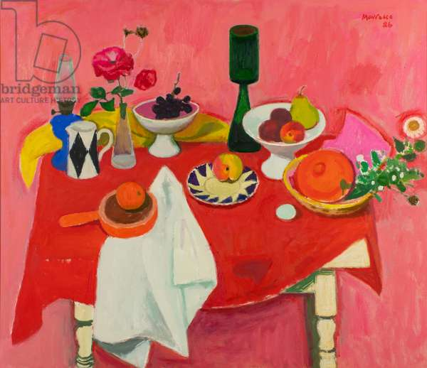 Still Life on Red Cloth, 1986 (oil on canvas)