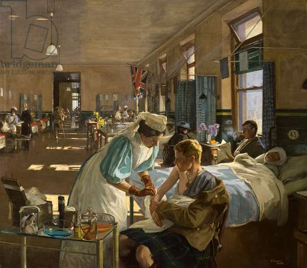 The First Wounded in London Hospital, August 1914, 1915 (oil on canvas)