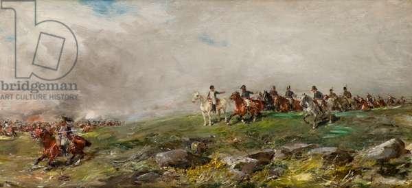 Napoleon at Austerlitz (oil on panel)