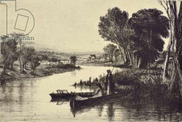 Thames Fishermen No.1, 1859 (drypoint)