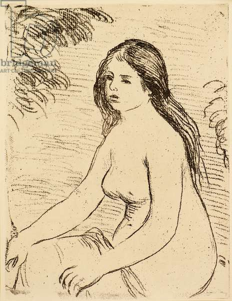 Femme nue assise [Nude bather], 1906 (etching)