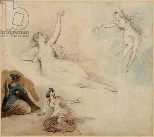 Figure Studies, 18th century (pen & wash)