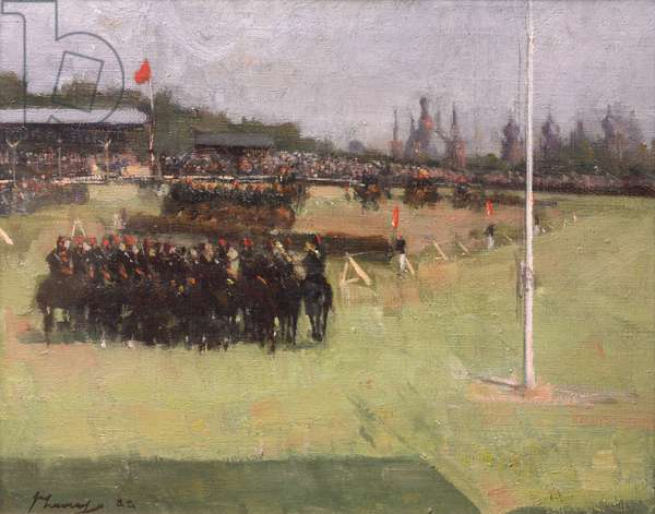 The Musical Ride of the 15th Hussars during the Military Tournament at the Glasgow International Exhibition 1888, 1888 (oil on canvas)