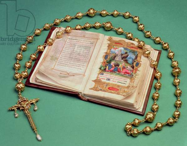 Rosary and Prayer Book belonging to Mary Queen of Scots (ink on parchment and gold & pearl) (see also 279119 and 279120)