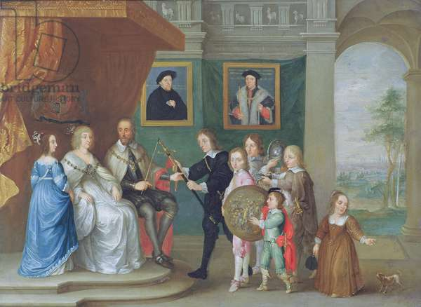 Thomas Howard, 14th Earl of Arundel is presented with arms by his children to mark his appointment to lead the army against Scotland in 1639 (oil on copper)