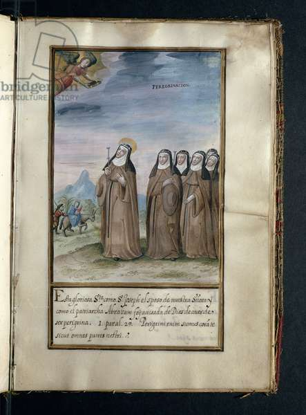 Pilgrimage, from a history of the peregrinations of the Syon Nuns, compiled in Lisbon in the early 17th century (vellum)