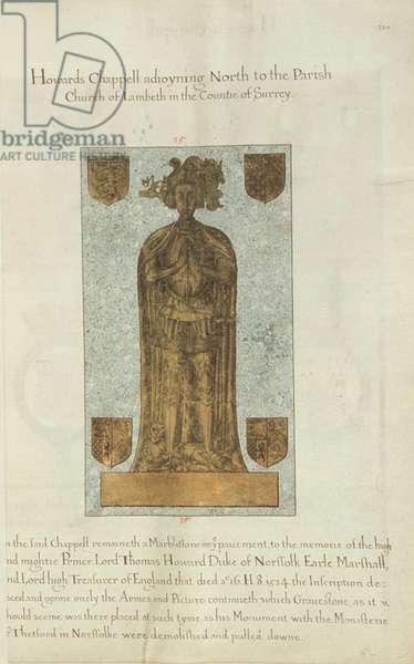 Marble gravestone of Lord Thomas Howard Duke of Norfolk, 1637 (ink & gold leaf on vellum)