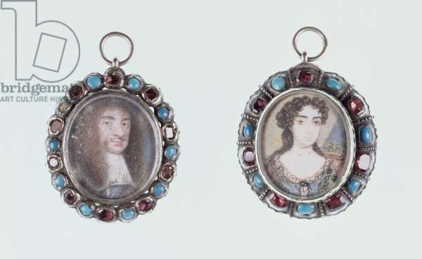 Miniatures of Charles II and Catherine of Braganza