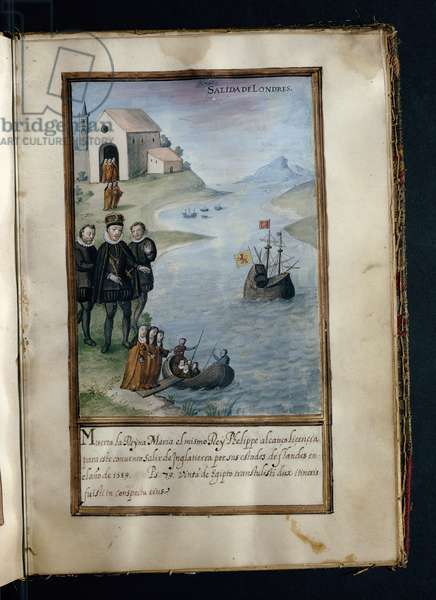 Departure from London, from a history of the peregrinations of the Syon Nuns, compiled in Lisbon in the early 17th century (vellum)