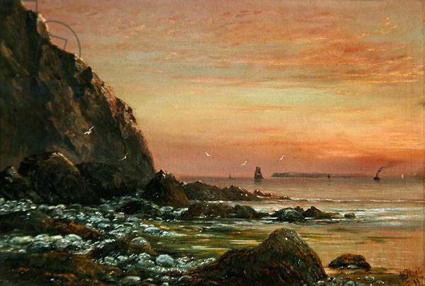 Seascape with Cliff at Sunset, 1889 (oil on canvas)